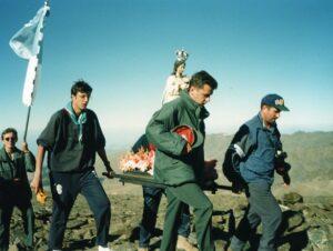 Última procesión que se hizo en andas desde los Llanos del Mulhacén hasta la cima