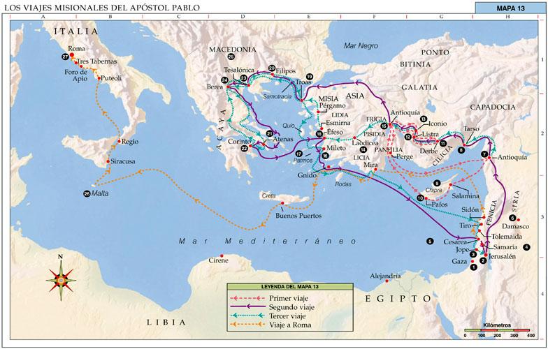 Mapa viajes de San Pablo