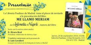 Invitacion a la presentacion del libro Me llamo Meriam en la libreria Paulinas