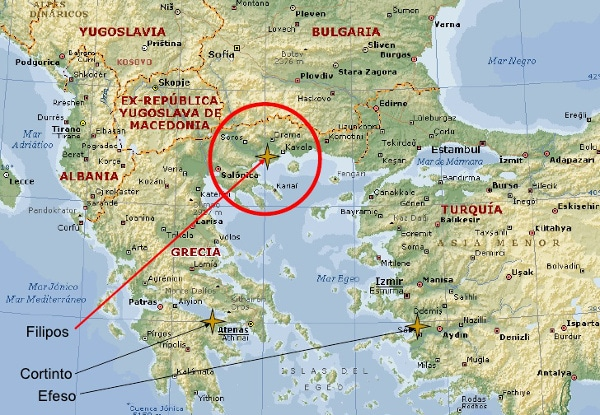 Mapa de Filipos