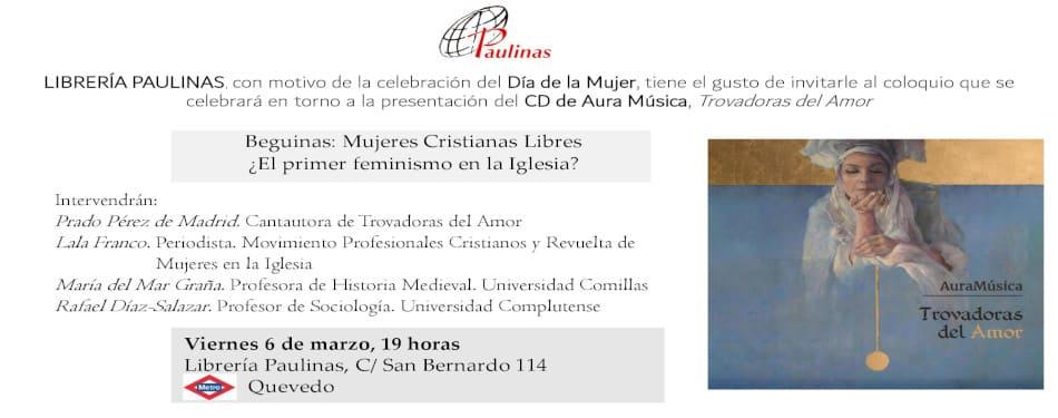 Invitacion al coloquio-presentacion del cd Trovadoras del amor en la libreria Paulinas de Madrid