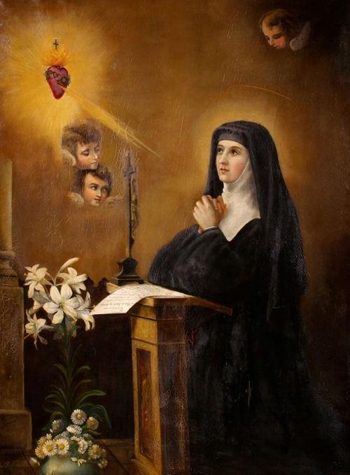 Santa Margarita María Alacoque rezando